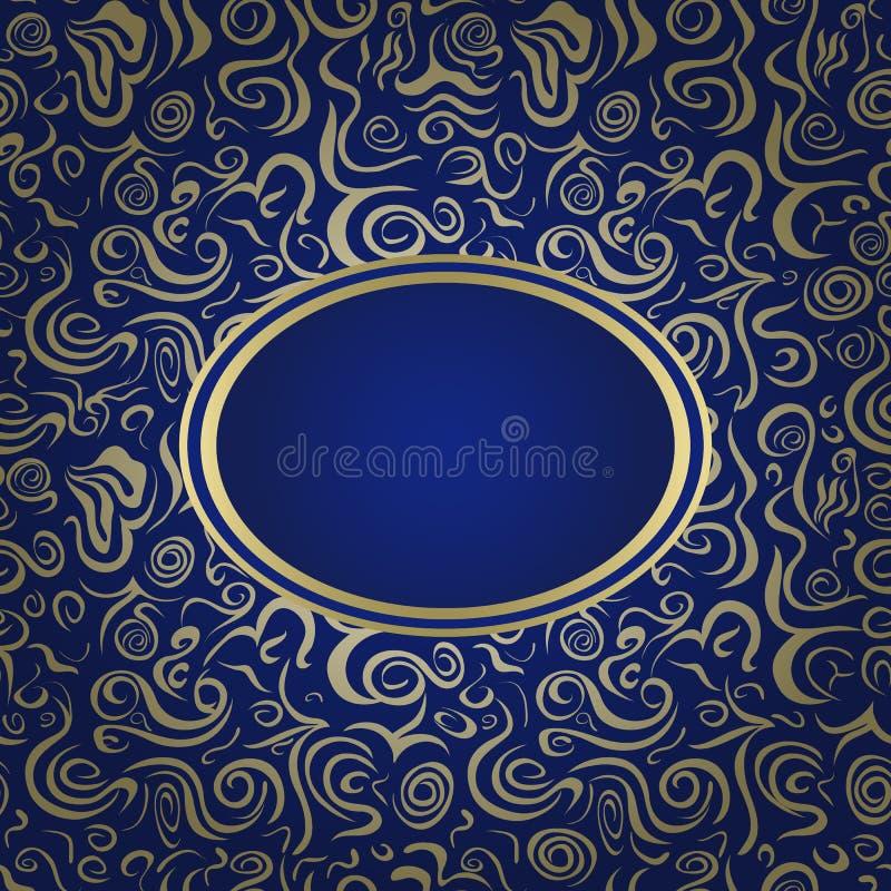 Escuro - cartão azul do convite ilustração stock