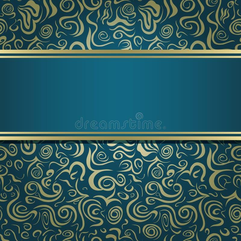 Escuro - cartão azul verde do convite ilustração stock