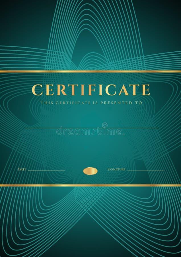 Escuro - certificado verde, molde do diploma ilustração do vetor