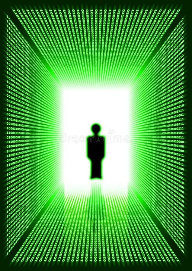 Escuro - corredor digital verde com silhueta do homem ilustração royalty free