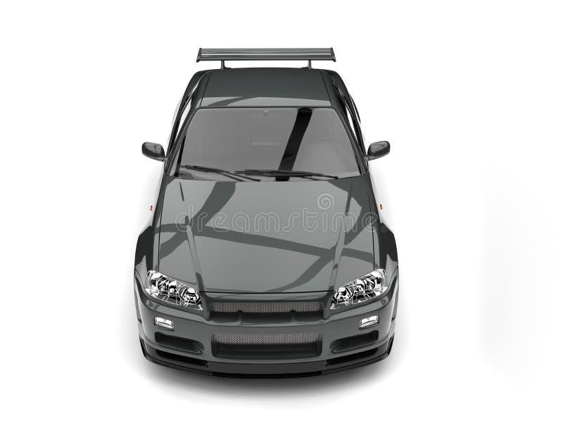 Escuro - dos esportes urbanos cinzentos da parte superior opinião dianteira automobilístico para baixo ilustração do vetor