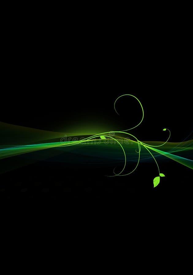 Escuro elegante - projeto abstrato verde do fundo com redemoinhos e espaço para seu texto ilustração royalty free