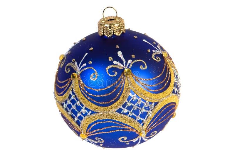 Escuro - esfera azul do Natal fotografia de stock