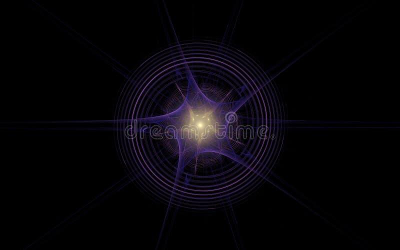 Escuro - estrela cósmica azul com um núcleo de incandescência amarelo e círculos concêntricos em um fundo preto ilustração royalty free