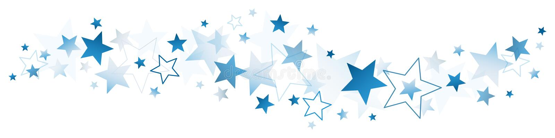 Escuro - estrelas grandes e pequenas azuis ilustração do vetor