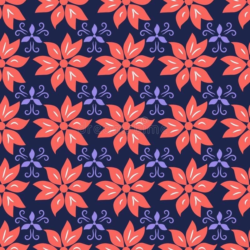 Escuro floral sem emenda - fundo azul com flores corais ilustração royalty free