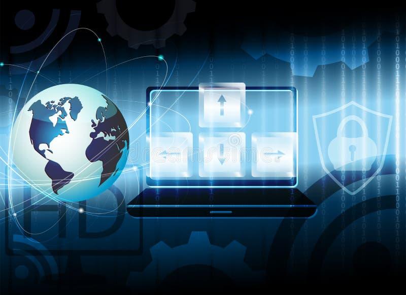 Escuro - fundo azul com esboço do globo, símbolos do Internet ilustração stock