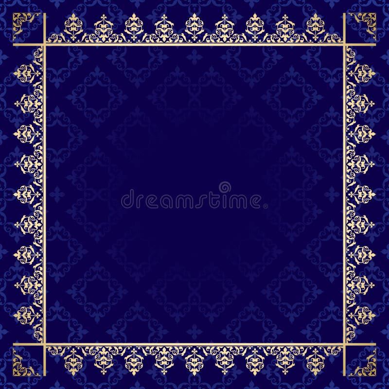 Escuro - fundo azul com quadro decorativo ilustração do vetor
