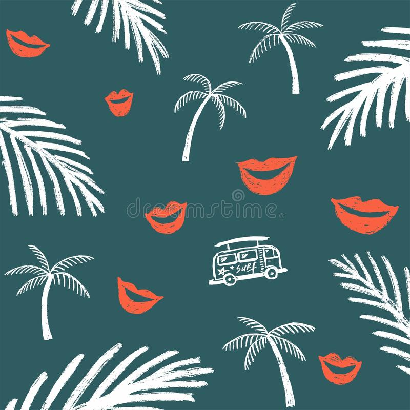 Escuro - fundo azul com ramos brancos da palma e os bordos e o ônibus vermelhos da praia ilustração do vetor