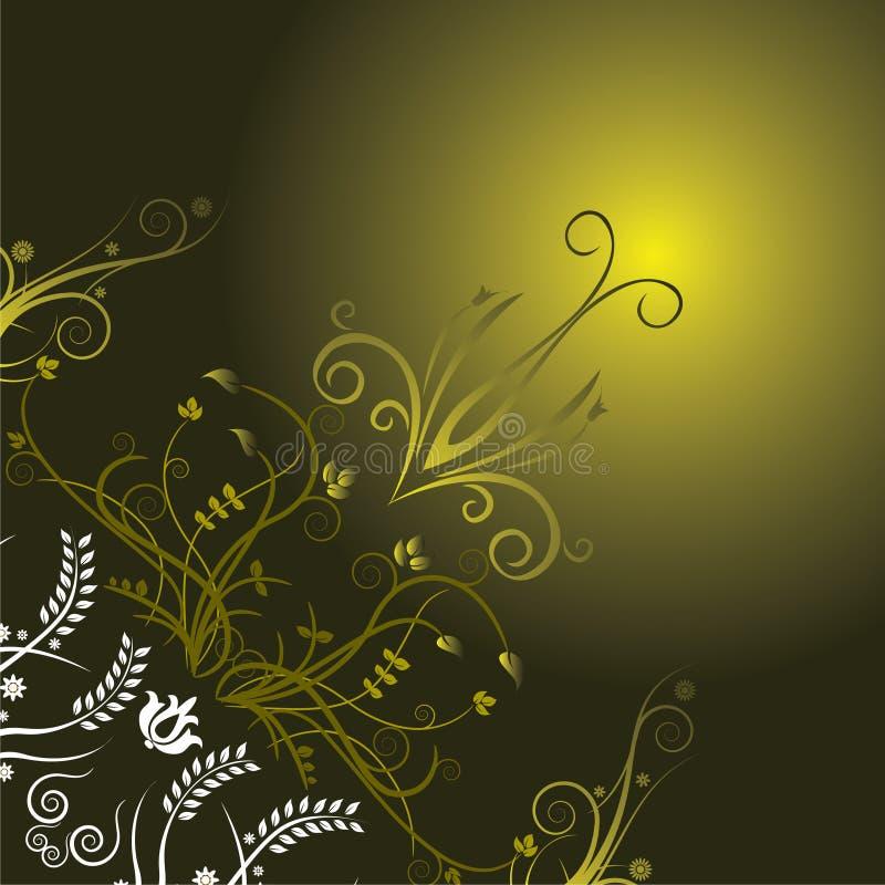 Escuro - fundo floral verde ilustração stock
