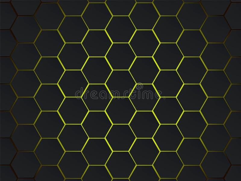 Escuro - fundo geométrico moderno do sumário do vetor dos hexágonos cinzentos e amarelos Conceito do polígono com efect moderno p ilustração stock