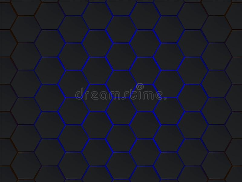 Escuro - fundo geométrico moderno do sumário do vetor dos hexágonos cinzentos e azuis Conceito do polígono com efect moderno para ilustração stock