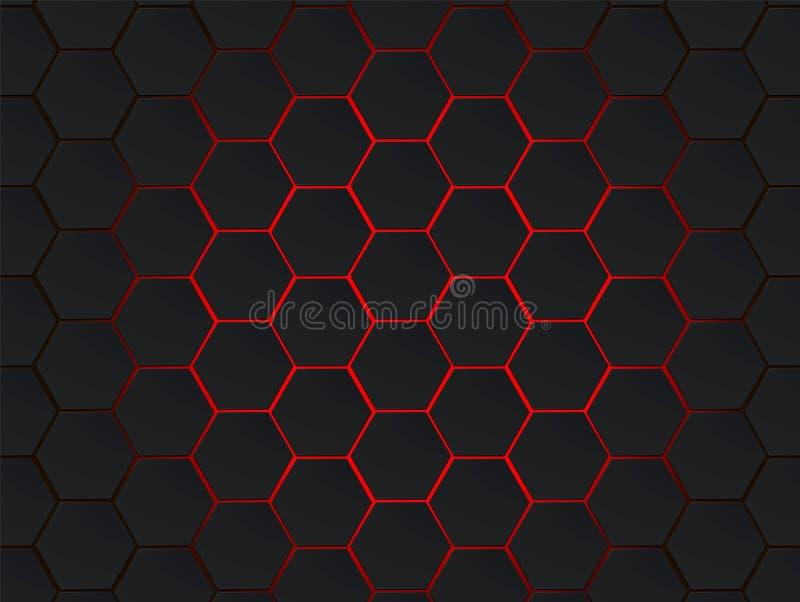 Escuro - fundo geométrico moderno do sumário do vetor dos hexágonos cinzentos e vermelhos Conceito do polígono com efect moderno  ilustração royalty free