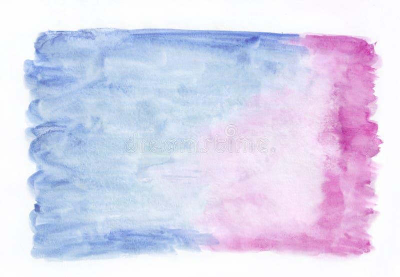 Escuro - fundo horizontal do inclinação da aquarela bicolor misturada azul e cor-de-rosa Ele ` s útil para cartões, Valentim foto de stock