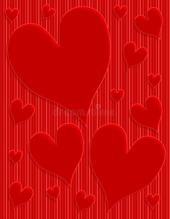 Escuro - fundo listrado dos corações vermelhos ilustração do vetor
