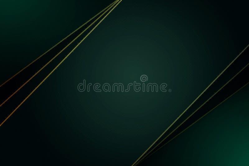 Escuro - fundo superior verde com linhas luxuosas do teste padrão e do ouro ilustração royalty free