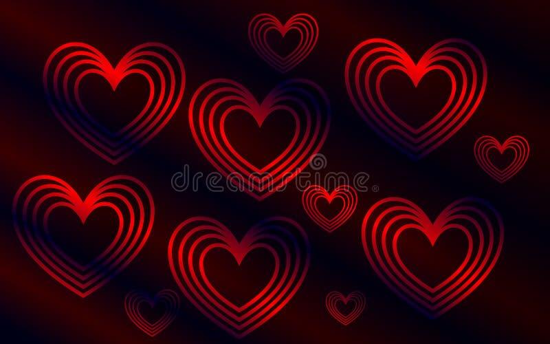 Escuro - fundo vermelho com corações fotos de stock royalty free