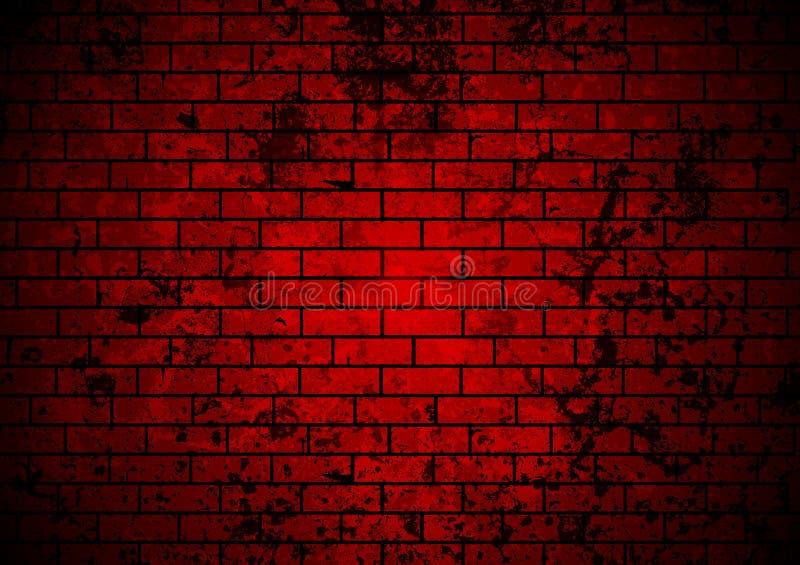 Escuro - fundo vermelho da parede de tijolo do grunge ilustração royalty free