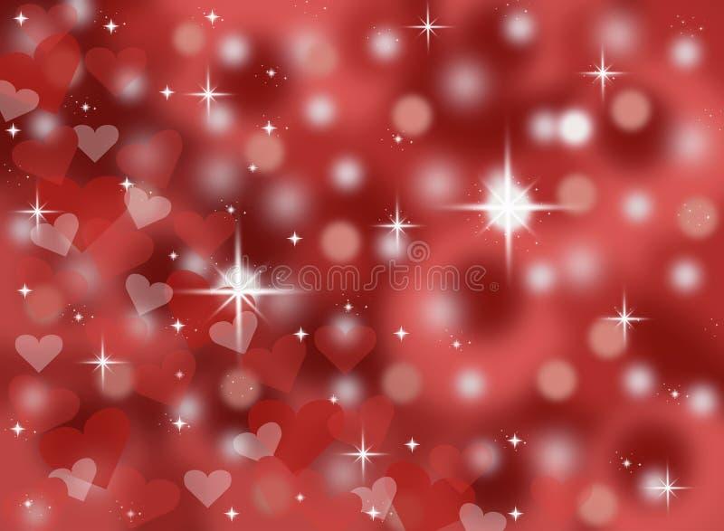 Escuro - ilustração abstrata vermelha do fundo do cartão do dia de Valentim do bokeh com sparkles e estrelas ilustração stock