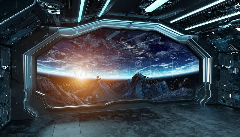 Escuro - interior futurista da nave espacial azul com opinião da janela na rendição do espaço e dos planetas 3d ilustração do vetor