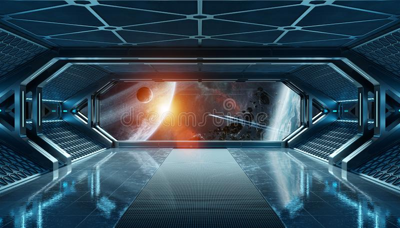 Escuro - interior futurista da nave espacial azul com opinião da janela na rendição do espaço e dos planetas 3d ilustração royalty free