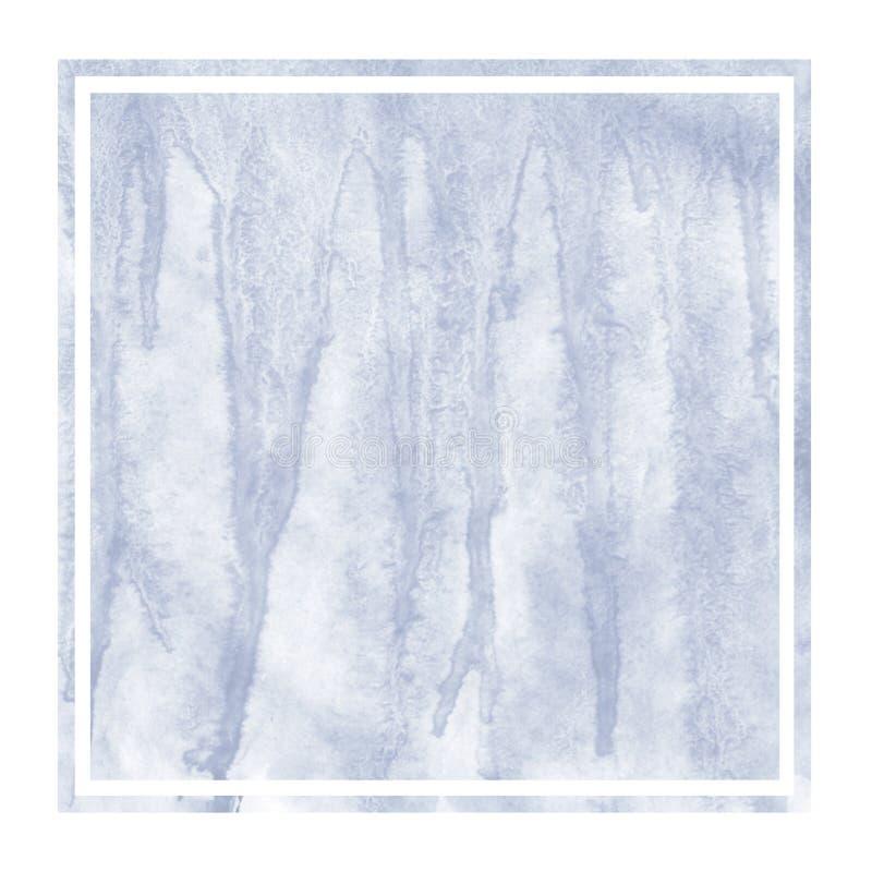 Escuro - mão azul textura retangular tirada do fundo do quadro da aquarela com manchas imagem de stock royalty free