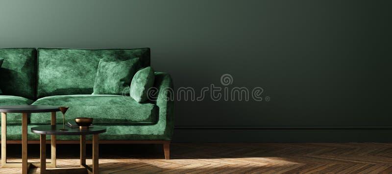 Escuro moderno - fundo interior da casa verde, zombaria da parede acima ilustração do vetor