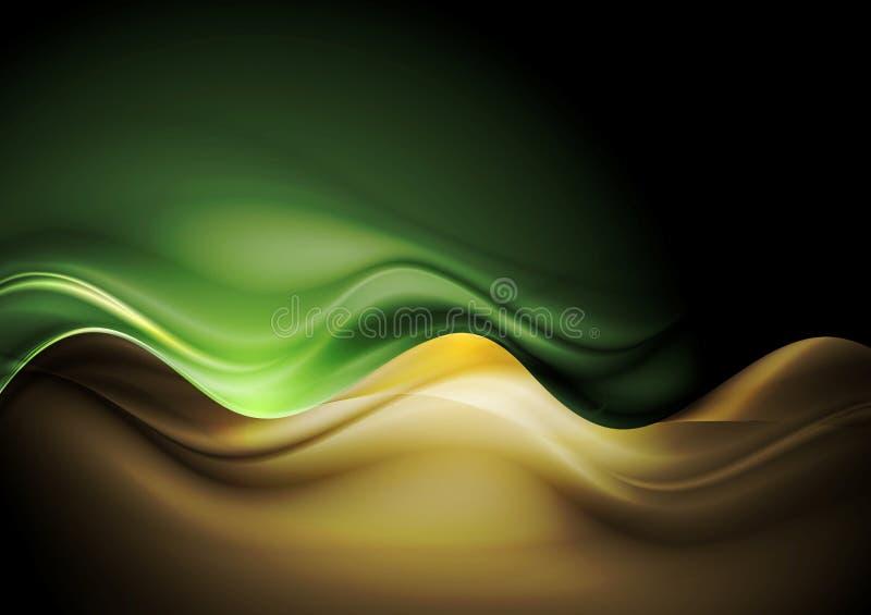 Escuro - molde das ondas alaranjadas e verdes ilustração stock