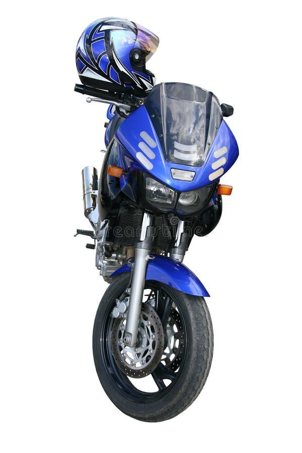 Escuro - motocicleta azul. fotografia de stock