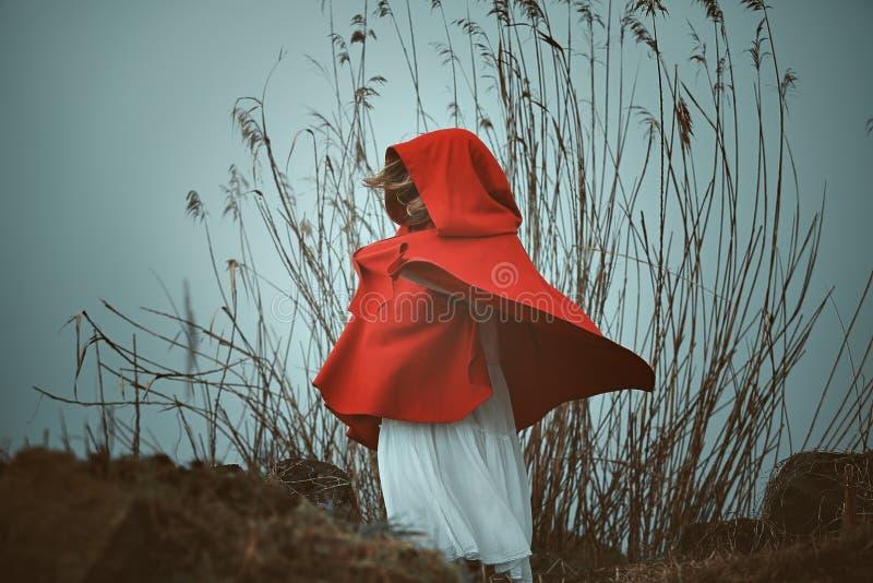 Escuro - mulher encapuçado vermelha imagens de stock