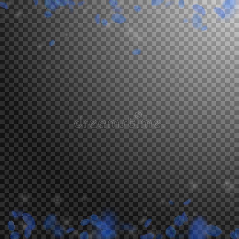Escuro - pétalas azuis da flor que caem para baixo Refrigere romântico ilustração stock
