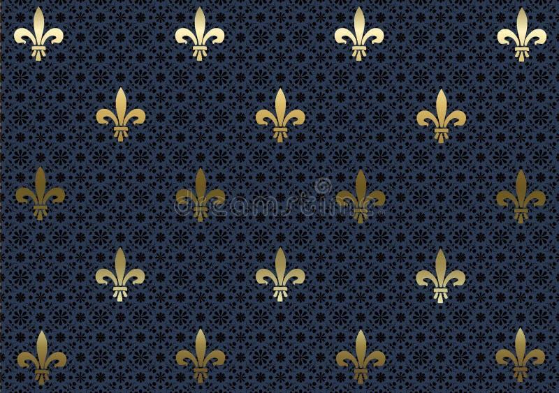 Escuro - papel de parede azul do fundo da flor de lis ilustração stock