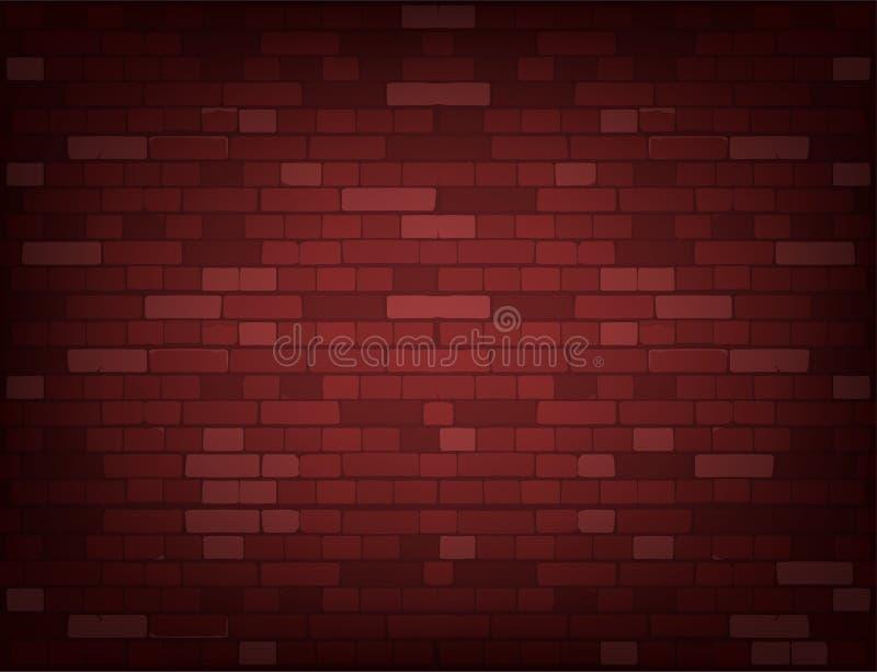 Escuro - parede de tijolo vermelho Fundo realístico do vetor ilustração stock