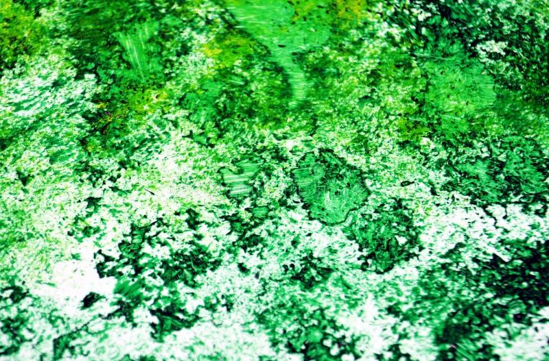 Escuro - pontos românticos fosforescentes verdes que pintam o fundo da aquarela, fundo de pintura abstrato da aquarela fotos de stock royalty free