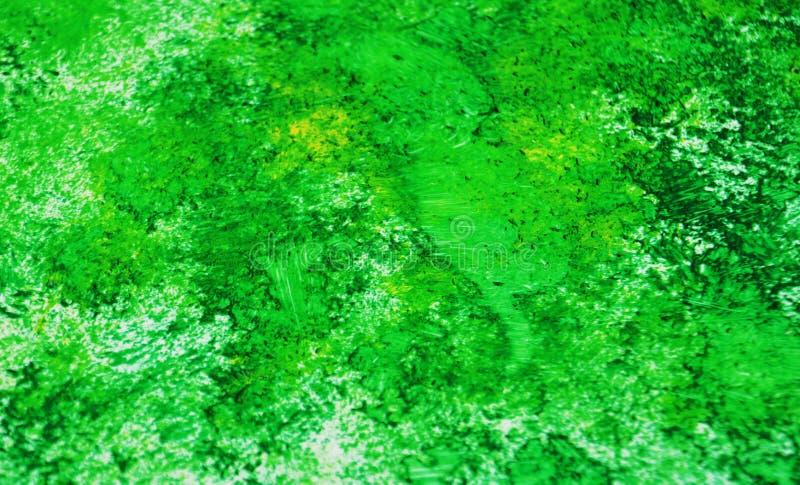 Escuro - pontos românticos vívidos brilhantes verdes que pintam o fundo da aquarela, fundo de pintura abstrato da aquarela imagem de stock