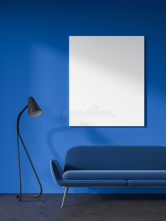 Escuro - sala de visitas azul, sofá azul, cartaz ilustração royalty free