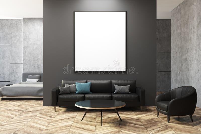 Escuro - sala de visitas cinzenta e concreta, cartaz ilustração stock