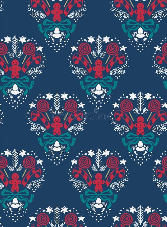 Escuro sem emenda do teste padrão do damasco do vetor do Natal - azul ilustração do vetor