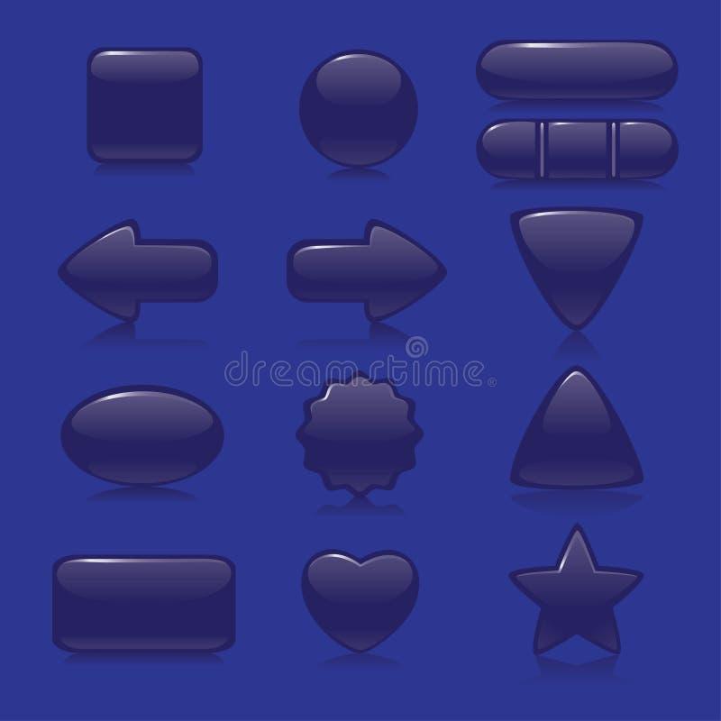 Escuro - teclas azuis ilustração do vetor