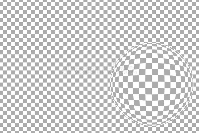 Escuro - teste padrão quadriculado cinzento horizontal com efeito da lente de fisheye, ilustração do vetor ilustração stock