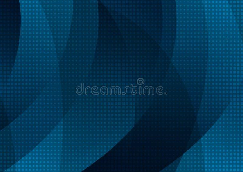 Escuro - textura ondulada abstrata azul com quadrados ilustração do vetor