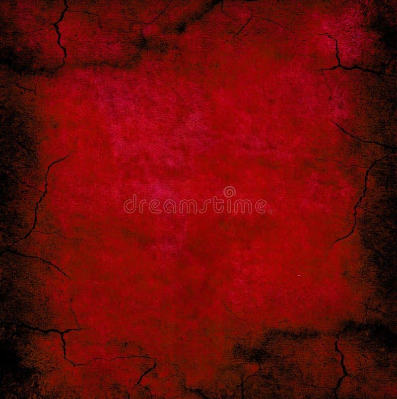 Escuro - textura vermelha do grunge Rachado e afligido ilustração stock