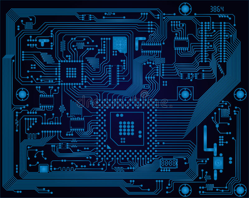 Escuro - vect industrial azul da placa de circuito eletrônico ilustração stock