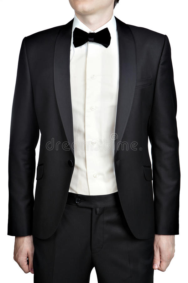 Escuro - vestido de noite cinzento dos homens, blazer, camisa branca, laço fotos de stock royalty free