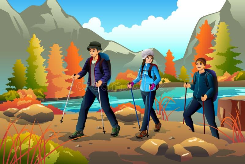 Escursione andante dei giovani all'aperto illustrazione di stock