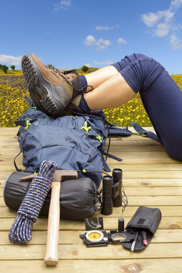Escursione attrezzatura, Zaino, gli stivali e dello zaino fotografie stock libere da diritti
