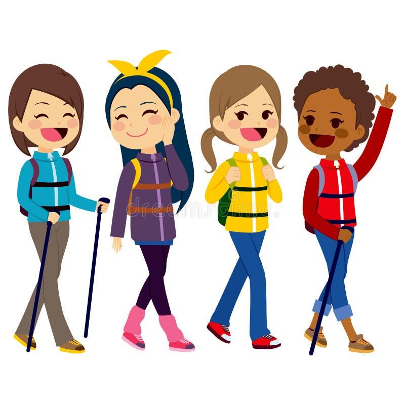 Escursione degli amici di ragazze illustrazione vettoriale