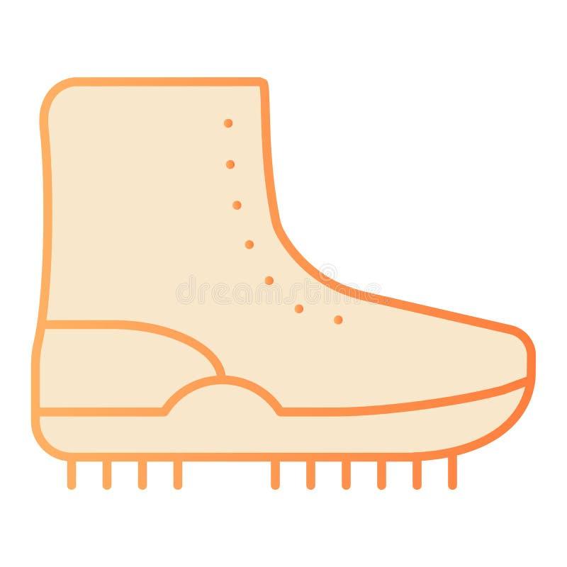 Escursione dell'icona piana dello stivale Icone arancio della scarpa nello stile piano d'avanguardia Progettazione di stile di pe royalty illustrazione gratis