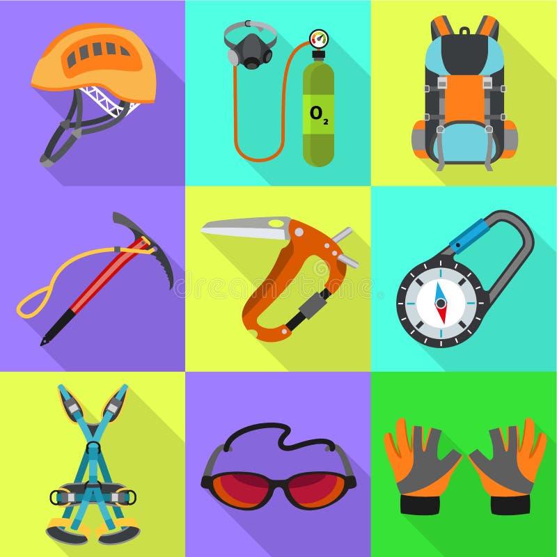 Escursione dell'insieme dell'icona degli strumenti, stile piano illustrazione vettoriale