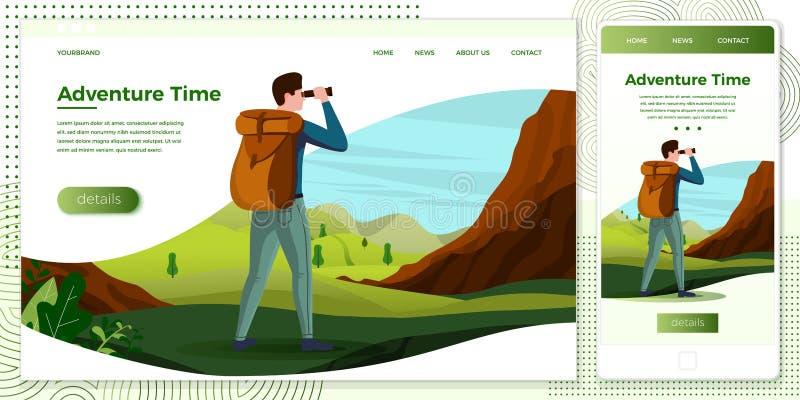 Escursione dell'uomo dell'insieme dell'illustrazione della multipiattaforma di vettore royalty illustrazione gratis